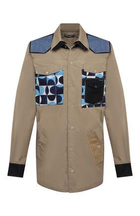 Мужская хлопковая рубашка DOLCE & GABBANA бежевого цвета, арт. G5IP9T/GEQ87 | Фото 1 (Длина (для топов): Стандартные; Материал внешний: Хлопок; Рукава: Длинные; Стили: Кэжуэл; Случай: Повседневный; Манжеты: На кнопках; Рубашки М: Classic Fit; Принт: С принтом; Воротник: Кент)