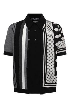 Мужское поло из шелка и хлопка DOLCE & GABBANA черно-белого цвета, арт. GXE35T/JBML5 | Фото 1