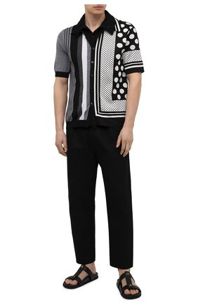 Мужское поло из шелка и хлопка DOLCE & GABBANA черно-белого цвета, арт. GXE35T/JBML5 | Фото 2