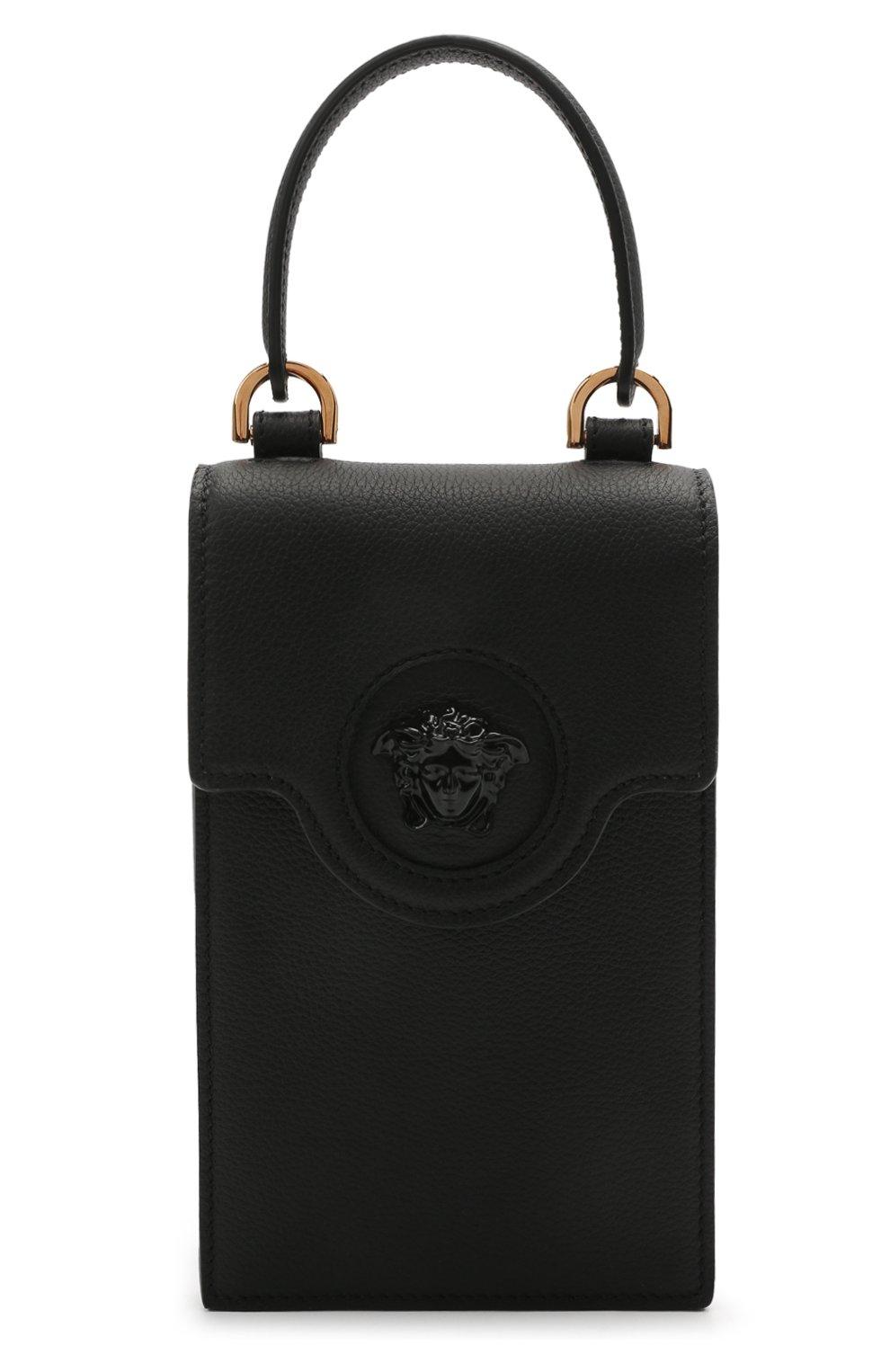 Кожаный чехол для телефона la medusa VERSACE черного цвета, арт. DP8I060/DVIT2T | Фото 1