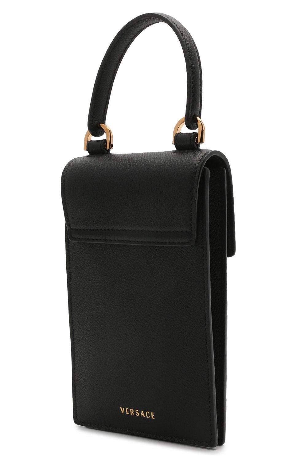 Кожаный чехол для телефона la medusa VERSACE черного цвета, арт. DP8I060/DVIT2T | Фото 3