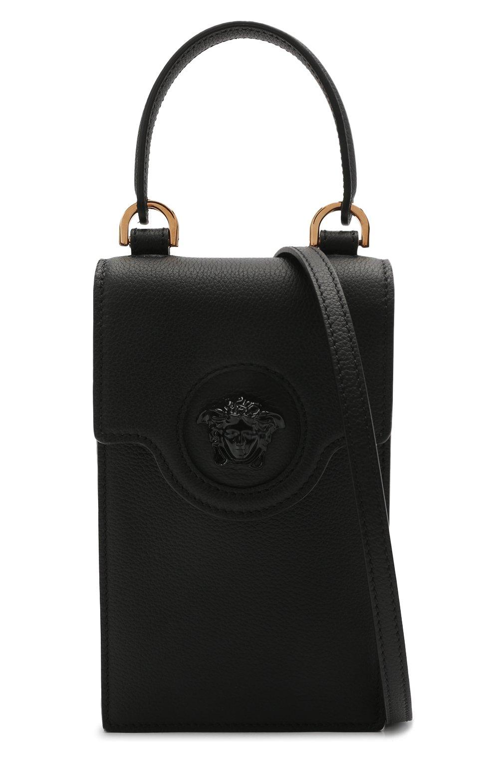 Кожаный чехол для телефона la medusa VERSACE черного цвета, арт. DP8I060/DVIT2T | Фото 6