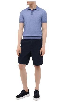 Мужские хлопковые шорты POLO RALPH LAUREN темно-синего цвета, арт. 710835030 | Фото 2 (Материал внешний: Хлопок; Длина Шорты М: До колена; Принт: Без принта; Стили: Кэжуэл; Мужское Кросс-КТ: Шорты-одежда)