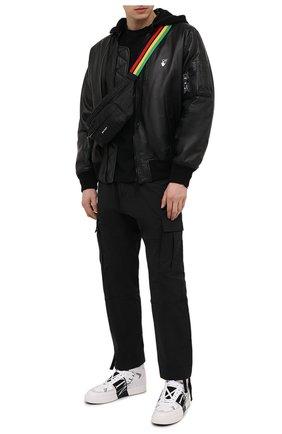 Мужская текстильная поясная сумка PALM ANGELS черного цвета, арт. PMN0003S21FAB0011009 | Фото 2
