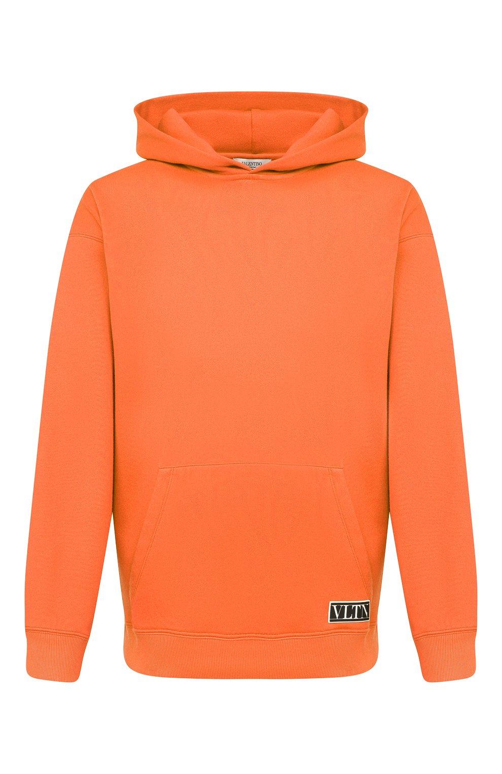 Мужской хлопковое худи VALENTINO оранжевого цвета, арт. VV0MF18F7EY | Фото 1 (Рукава: Длинные; Принт: Без принта; Длина (для топов): Стандартные; Мужское Кросс-КТ: Худи-одежда; Материал внешний: Хлопок; Стили: Кэжуэл)