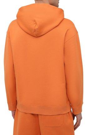 Мужской хлопковое худи VALENTINO оранжевого цвета, арт. VV0MF18F7EY | Фото 4 (Рукава: Длинные; Принт: Без принта; Длина (для топов): Стандартные; Мужское Кросс-КТ: Худи-одежда; Материал внешний: Хлопок; Стили: Кэжуэл)