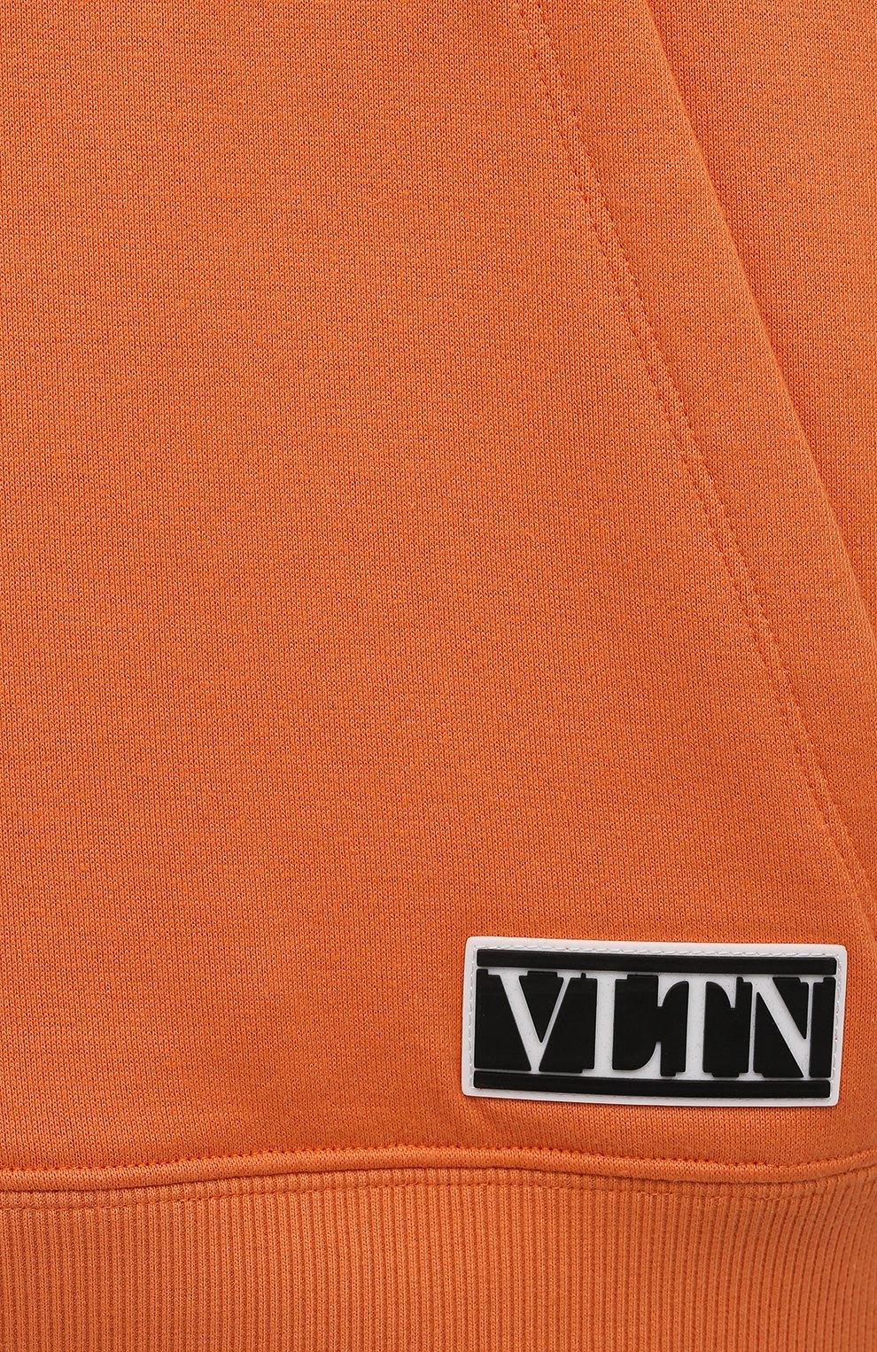 Мужской хлопковое худи VALENTINO оранжевого цвета, арт. VV0MF18F7EY | Фото 5 (Рукава: Длинные; Принт: Без принта; Длина (для топов): Стандартные; Мужское Кросс-КТ: Худи-одежда; Материал внешний: Хлопок; Стили: Кэжуэл)