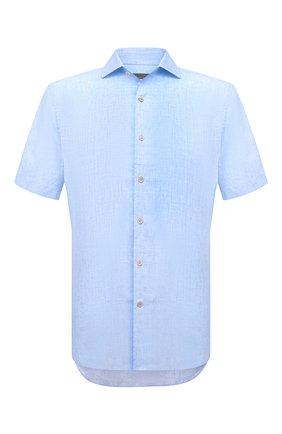 Мужская льняная рубашка CORNELIANI голубого цвета, арт. 87I126-1111912/00 | Фото 1 (Рукава: Короткие; Материал внешний: Лен; Длина (для топов): Стандартные; Воротник: Акула; Случай: Повседневный; Принт: Однотонные; Рубашки М: Regular Fit; Стили: Кэжуэл)