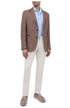 Мужская льняная рубашка CORNELIANI голубого цвета, арт. 87I126-1111912/00 | Фото 2 (Рукава: Короткие; Материал внешний: Лен; Длина (для топов): Стандартные; Воротник: Акула; Случай: Повседневный; Принт: Однотонные; Рубашки М: Regular Fit; Стили: Кэжуэл)