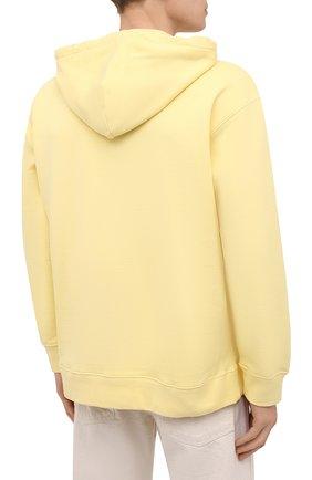 Мужской хлопковое худи OPENING CEREMONY желтого цвета, арт. YMBB007S21FLE002   Фото 4 (Рукава: Длинные; Длина (для топов): Стандартные; Стили: Гранж; Принт: С принтом; Мужское Кросс-КТ: Худи-одежда; Материал внешний: Хлопок)