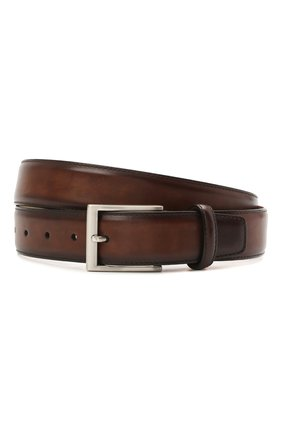 Мужской кожаный ремень MAGNANNI коричневого цвета, арт. 1078/WIND | Фото 1