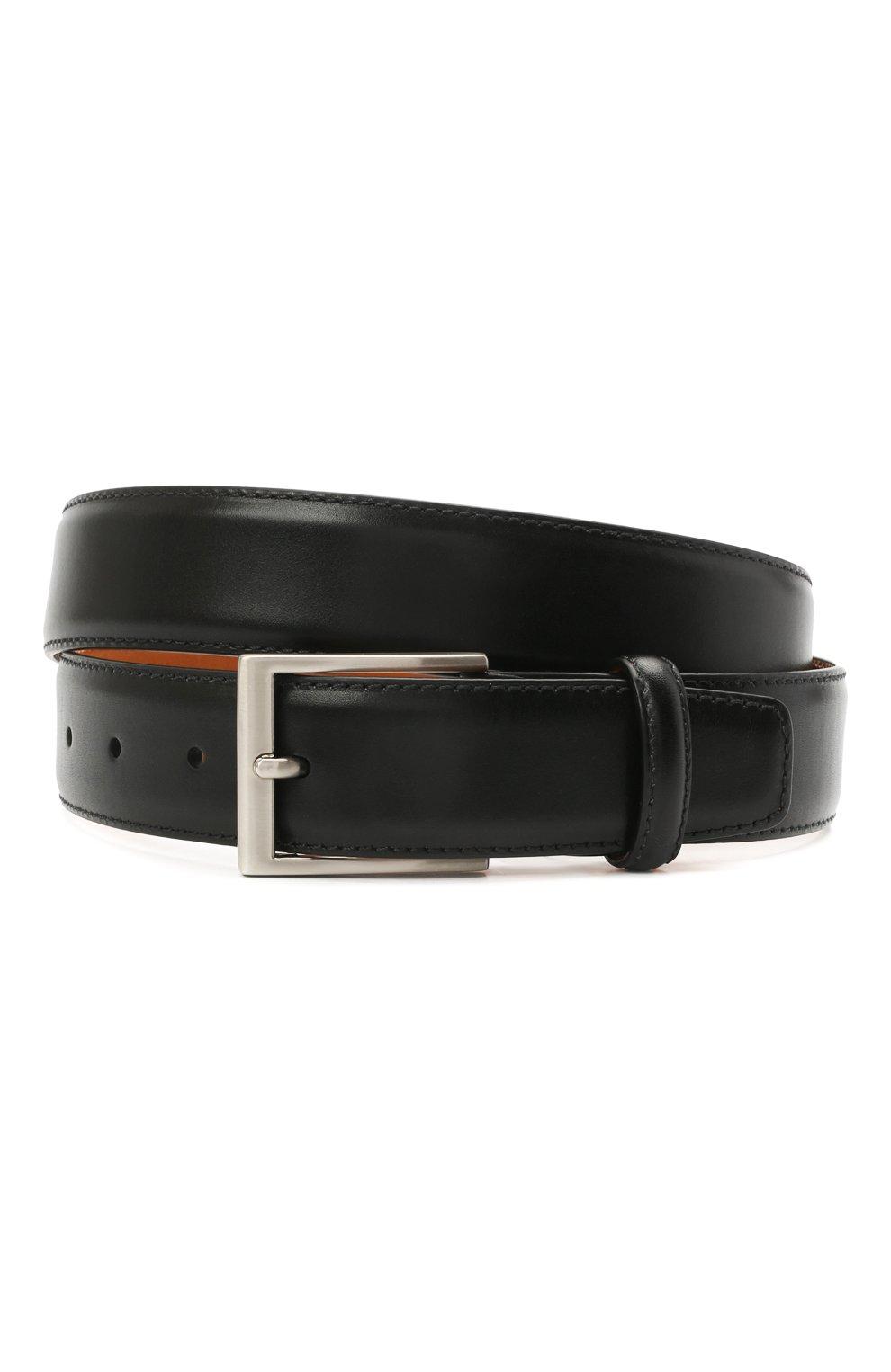 Мужской кожаный ремень MAGNANNI черного цвета, арт. 1078/WIND | Фото 1 (Случай: Формальный)
