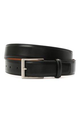 Мужской кожаный ремень MAGNANNI черного цвета, арт. 1078/WIND | Фото 1