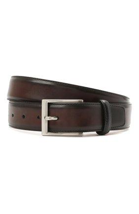 Мужской кожаный ремень MAGNANNI темно-коричневого цвета, арт. 1078/WIND | Фото 1