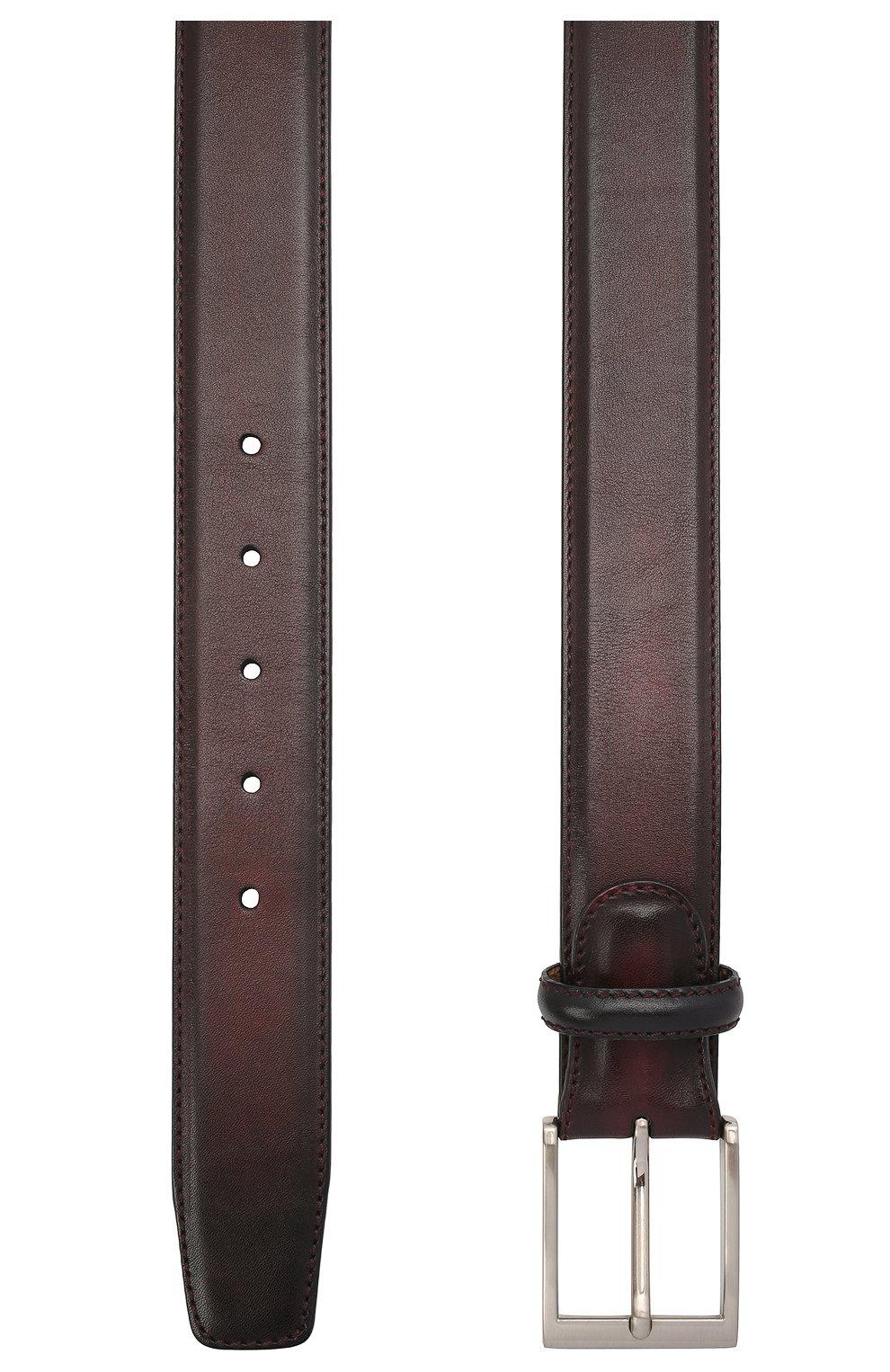 Мужской кожаный ремень MAGNANNI бордового цвета, арт. 1078/WIND   Фото 2 (Случай: Формальный)