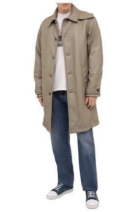 Мужские текстильные кеды LANVIN бирюзового цвета, арт. FM-SKDBB1-DENI-E21 | Фото 2 (Материал внешний: Текстиль; Материал внутренний: Натуральная кожа; Подошва: Массивная)