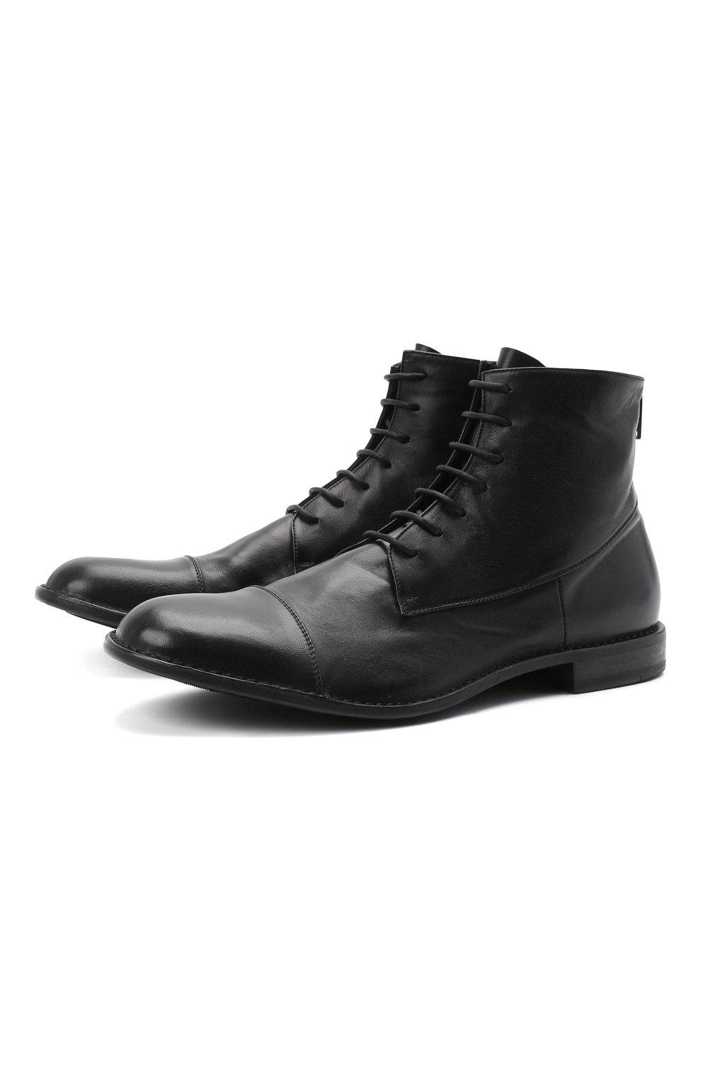 Мужские кожаные ботинки PANTANETTI черного цвета, арт. 14403E/GUELF0   Фото 1 (Мужское Кросс-КТ: Ботинки-обувь; Материал внутренний: Натуральная кожа; Подошва: Плоская)