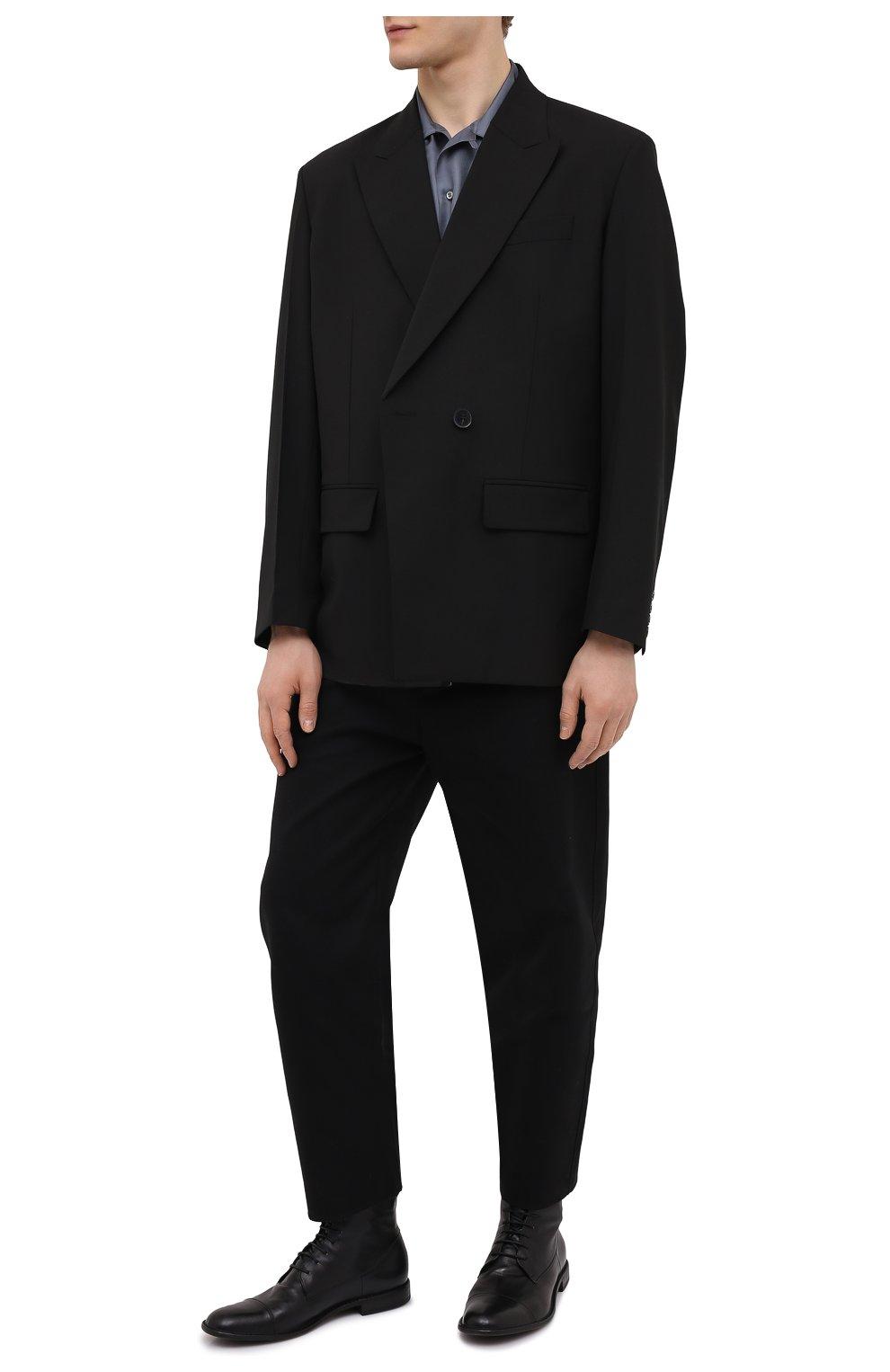 Мужские кожаные ботинки PANTANETTI черного цвета, арт. 14403E/GUELF0   Фото 2 (Мужское Кросс-КТ: Ботинки-обувь; Материал внутренний: Натуральная кожа; Подошва: Плоская)