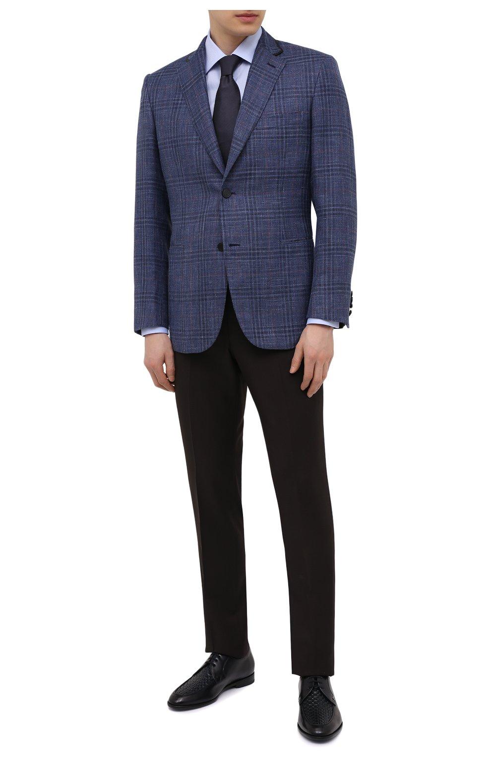 Мужские кожаные дерби ZILLI темно-синего цвета, арт. MDT-B065/001   Фото 2