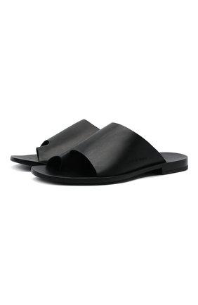 Мужские кожаные шлепанцы ROCCO P. черного цвета, арт. 12022/DALLAS   Фото 1
