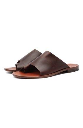 Мужские кожаные шлепанцы ROCCO P. коричневого цвета, арт. 12022/DALLAS   Фото 1