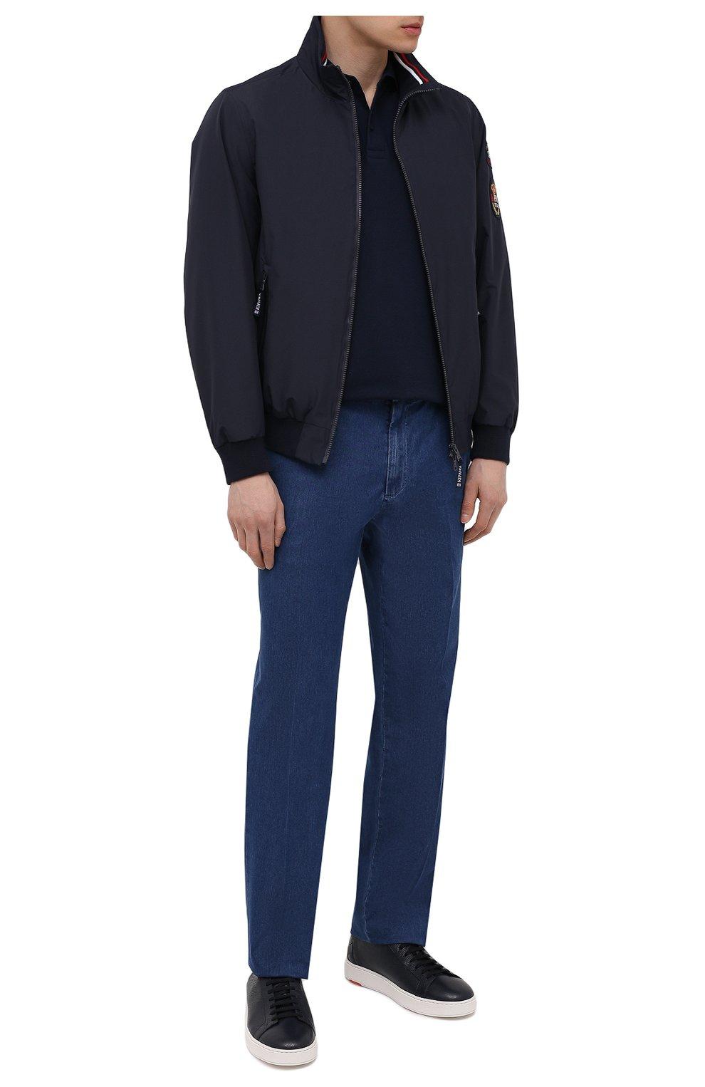 Мужские кожаные кеды SANTONI темно-синего цвета, арт. MBCD21490BARRTWHU53 | Фото 2 (Материал внутренний: Натуральная кожа; Подошва: Массивная)