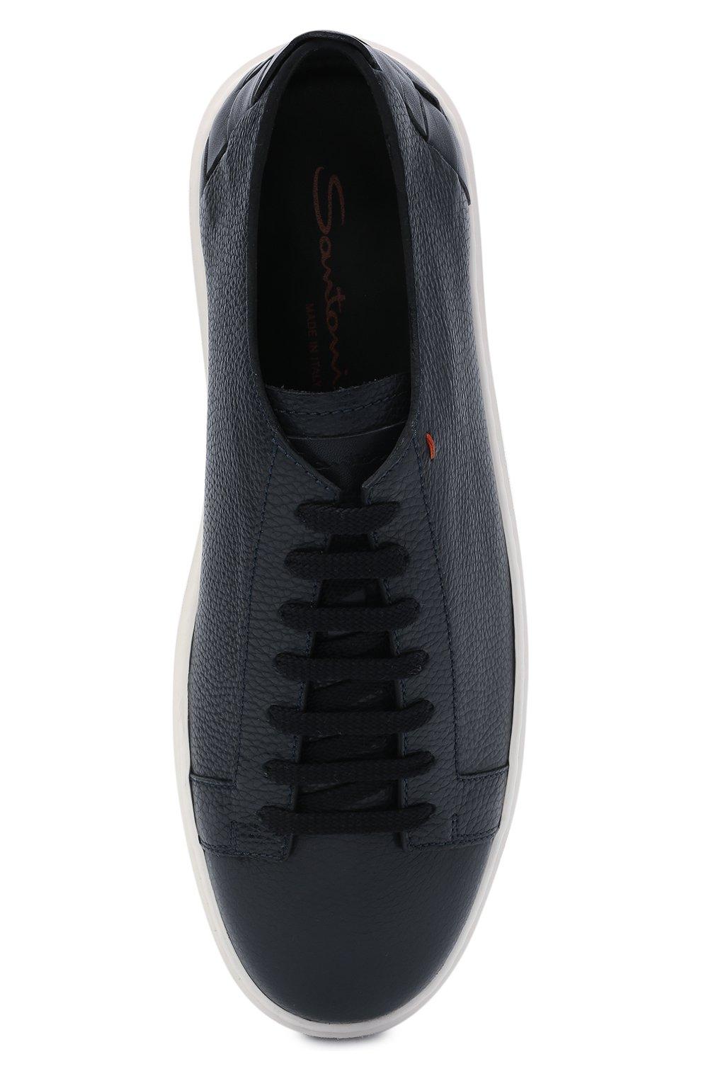 Мужские кожаные кеды SANTONI темно-синего цвета, арт. MBCD21490BARRTWHU53 | Фото 5 (Материал внутренний: Натуральная кожа; Подошва: Массивная)