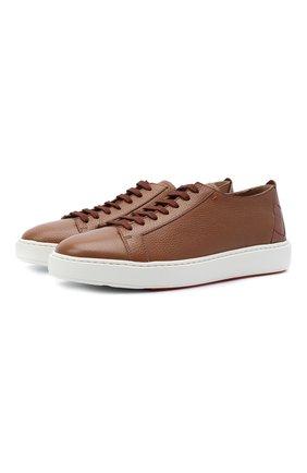 Мужские кожаные кеды SANTONI светло-коричневого цвета, арт. MBCD21490BARETWHC50 | Фото 1 (Материал внутренний: Натуральная кожа; Подошва: Массивная)