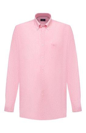 Мужская льняная рубашка PAUL&SHARK розового цвета, арт. 21413066/F7E | Фото 1 (Материал внешний: Лен; Случай: Повседневный; Принт: Полоска; Воротник: Button down; Стили: Кэжуэл; Big sizes: Big Sizes; Рубашки М: Regular Fit; Манжеты: На пуговицах; Рукава: Длинные; Длина (для топов): Удлиненные)