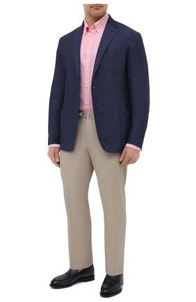 Мужская льняная рубашка PAUL&SHARK розового цвета, арт. 21413066/F7E | Фото 2 (Материал внешний: Лен; Случай: Повседневный; Принт: Полоска; Воротник: Button down; Стили: Кэжуэл; Big sizes: Big Sizes; Рубашки М: Regular Fit; Манжеты: На пуговицах; Рукава: Длинные; Длина (для топов): Удлиненные)