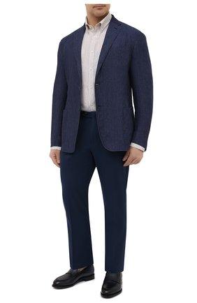 Мужская льняная рубашка PAUL&SHARK бежевого цвета, арт. 21413066/F7E | Фото 2 (Материал внешний: Лен; Манжеты: На пуговицах; Принт: Полоска; Стили: Кэжуэл; Big sizes: Big Sizes; Рубашки М: Regular Fit; Случай: Повседневный; Воротник: Button down; Рукава: Длинные; Длина (для топов): Удлиненные)