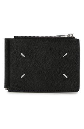 Мужской кожаный зажим для денег MAISON MARGIELA черного цвета, арт. S35UI0447/P0399 | Фото 1