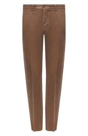 Мужские льняные брюки BOSS коричневого цвета, арт. 50330691 | Фото 1 (Материал внешний: Лен; Случай: Повседневный; Длина (брюки, джинсы): Стандартные; Стили: Кэжуэл)