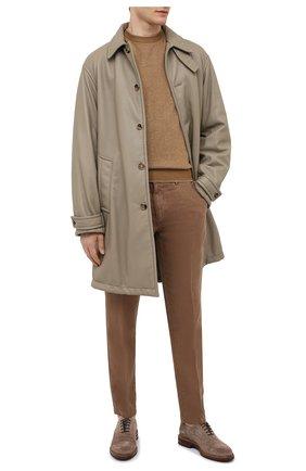 Мужские льняные брюки BOSS коричневого цвета, арт. 50330691 | Фото 2 (Материал внешний: Лен; Случай: Повседневный; Длина (брюки, джинсы): Стандартные; Стили: Кэжуэл)