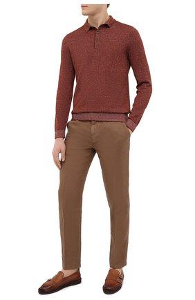 Мужское поло из хлопка и льна BOSS коричневого цвета, арт. 50449952   Фото 2