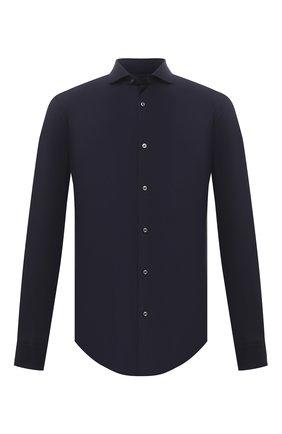 Мужская хлопковая рубашка BOSS темно-синего цвета, арт. 50445510 | Фото 1