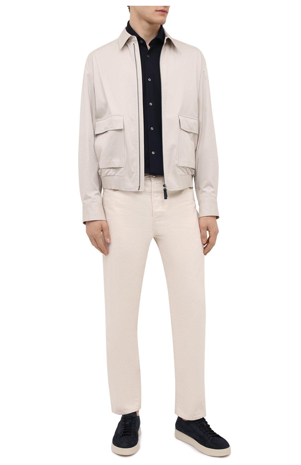 Мужская хлопковая рубашка BOSS темно-синего цвета, арт. 50445510 | Фото 2