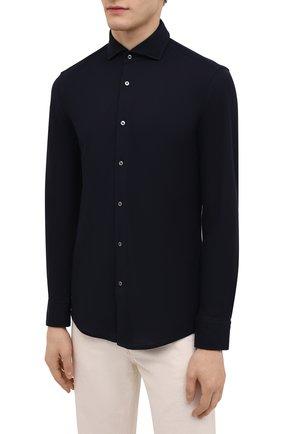 Мужская хлопковая рубашка BOSS темно-синего цвета, арт. 50445510 | Фото 3