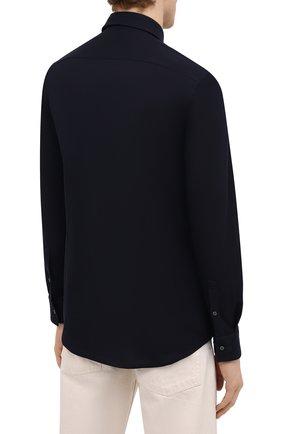 Мужская хлопковая рубашка BOSS темно-синего цвета, арт. 50445510 | Фото 4