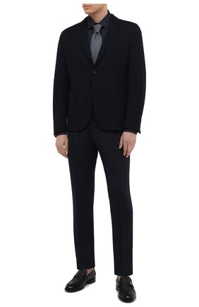 Мужская хлопковая сорочка BOSS темно-синего цвета, арт. 50440261   Фото 2