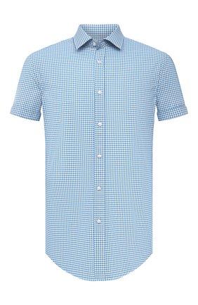 Мужская хлопковая рубашка BOSS голубого цвета, арт. 50451002 | Фото 1