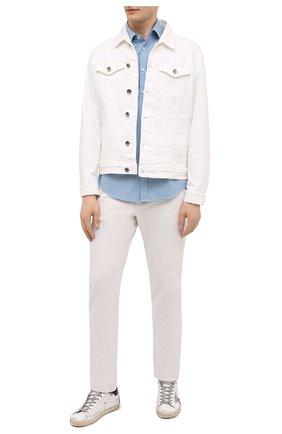 Мужская хлопковая рубашка BOSS голубого цвета, арт. 50451002 | Фото 2