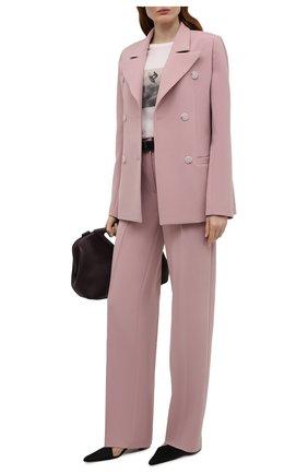 Женский жакет из вискозы LESYANEBO розового цвета, арт. SS21/Н-108_1 | Фото 2 (Рукава: Длинные; Материал внешний: Вискоза, Синтетический материал; Длина (для топов): Стандартные; Стили: Романтичный; 1-2-бортные: Двубортные; Женское Кросс-КТ: Жакет-одежда; Случай: Повседневный)