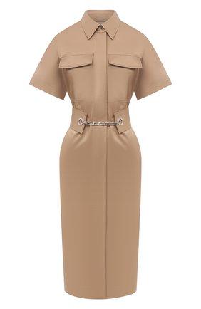 Женское хлопковое платье BOSS бежевого цвета, арт. 50448225   Фото 1
