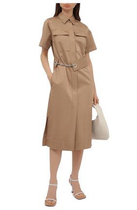 Женское хлопковое платье BOSS бежевого цвета, арт. 50448225   Фото 2