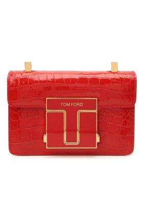 Женская сумка 001 small TOM FORD красного цвета, арт. L1384E-LCL150   Фото 1 (Ремень/цепочка: С цепочкой, На ремешке; Материал: Натуральная кожа; Сумки-технические: Сумки через плечо; Размер: small; Женское Кросс-КТ: Вечерняя сумка)