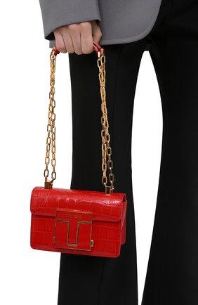Женская сумка 001 small TOM FORD красного цвета, арт. L1384E-LCL150   Фото 2 (Ремень/цепочка: С цепочкой, На ремешке; Материал: Натуральная кожа; Сумки-технические: Сумки через плечо; Размер: small; Женское Кросс-КТ: Вечерняя сумка)