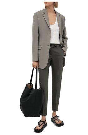 Женские хлопковые брюки BRUNELLO CUCINELLI хаки цвета, арт. M0F70P7521 | Фото 2