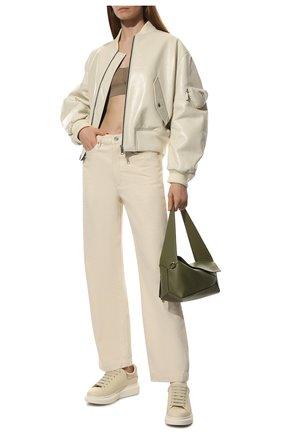 Женские кожаные кеды ALEXANDER MCQUEEN бежевого цвета, арт. 650792/WHZN2 | Фото 2 (Материал внутренний: Текстиль; Подошва: Платформа; Материал внешний: Кожа)