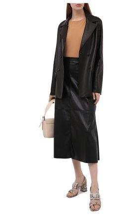 Женские кожаные босоножки  SERGIO ROSSI бежевого цвета, арт. A94220-MCPS02 | Фото 2